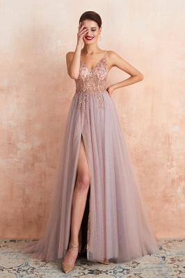 Charlotte | New Arrival Dusty Blue, Pink Spaghetti Strap Prom Dress with Sexy High Split, Cheap Evening Gowns Online_14