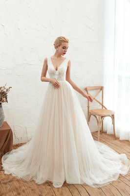 Champange Princess Tulle Wedding Dress with Soft Pleats | Sexy V-neck Low Back Bridal Gowns with Lace Appliques_4