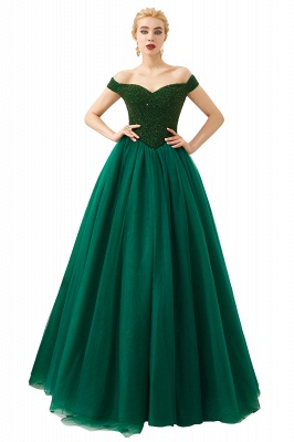 Harry | Elegant Emerald green Off-the-shoulder Ball Gown Dress for Prom/Evening_4