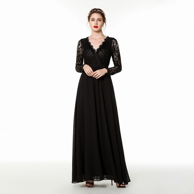 Phebe | Black Long Sleeves V-neck Long Bridesmaid Dresses for fall wedding_1