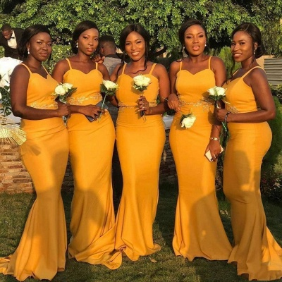 Sheath Sweetheart Neckline Spaghetti Yellow Lace Appliqued Bridesmaid Dresses | Affordable Long Court Train Wedding Party Dresses_3