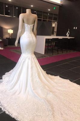 Elegant Mermaid Spring White Wedding Dress | Sweetheart Bridal Gowns with Chapel Train Online_2