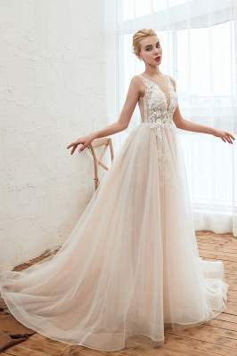 Illsuion neck Champange Wedding Dress with Chapel Train | Sleeveless Summer Bridal Gowns Online_3