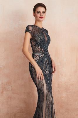 Chloé | Robe de bal en mousseline de soie bleu marine foncé de luxe avec trou clé et manches étincelantes en ligne, belles robes de soirée pour soirée_19