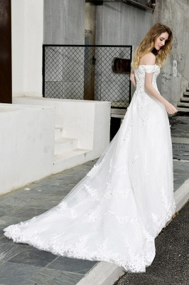 Elegant White Lace Off Shoulder Long Princess Wedding Dress with Beaded Lace Appliques_6