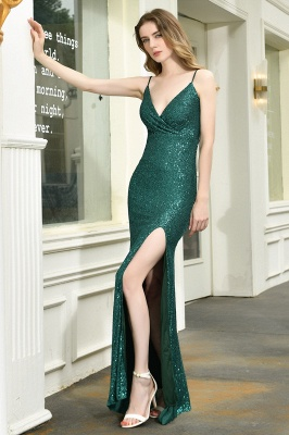 Ardell | Sexy Black Emerald Sequined High Slit Prom Dress Online_9