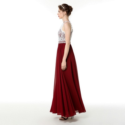 Trendy two-toned High neck Burgundy Formal Dress with soft pleats | High neck white lace Evening Dress_5