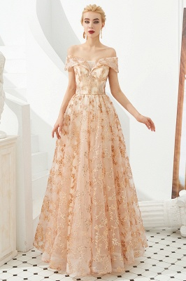 Hale | Romantic Off-the-shoudler Rose Gold Lace-up Tulle Prom Dress with Sparkly Appliques_3