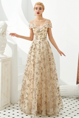 Herbert | Elegant Gold Cold shoulder Prom Dress with Delicate Multi-color Lace Appliques_7
