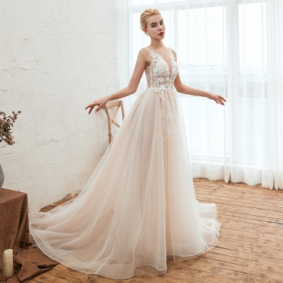 Illsuion neck Champange Wedding Dress with Chapel Train | Sleeveless Summer Bridal Gowns Online_14
