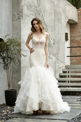 Sexy See-through Lace Mermaid Lace Sleeveless Ivory Wedding Dress with Ruffle Train_1