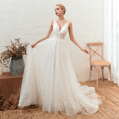 Harlan | Chic Deep V-neck White Tulle Princess Open back Wedding Dress with Court Train_7
