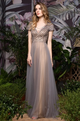 Aria | Stunning Short Sleeves Squared Sequined Tulle Luxury Prom Dress_8