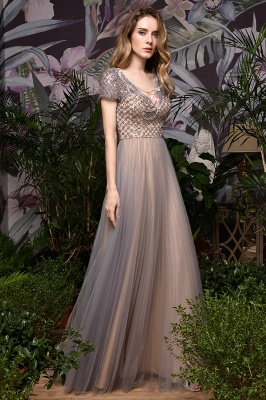 Aria | Stunning Short Sleeves Squared Sequined Tulle Luxury Prom Dress_4
