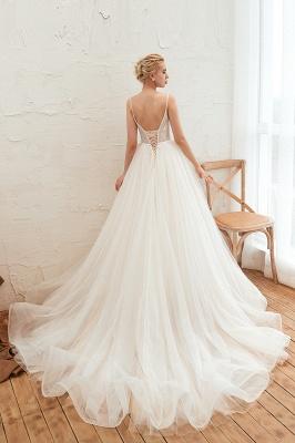Summer Свадебное платье цвета шампанского с глубоким V-образным вырезом и тонкими бретельками | Сексуальные Свадебные Платья С Низкой Спиной онлайн_4