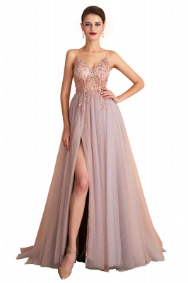 Charlotte | New Arrival Dusty Blue, Pink Spaghetti Strap Prom Dress with Sexy High Split, Cheap Evening Gowns Online_1
