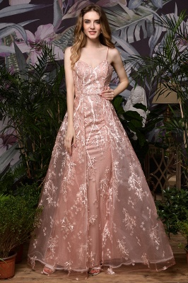 Ardolph | Gorgeous Dusty Pink Spaghetti Strap A-line Lace Prom Dress_2