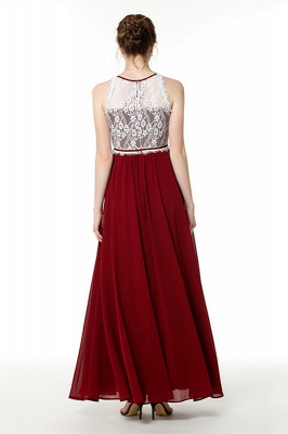 Trendy two-toned High neck Burgundy Formal Dress with soft pleats | High neck white lace Evening Dress_3