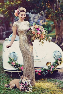Sparkly Gold Sequins Wedding Party Dresses Floor Length Open Back Bridesmaid Dress_2