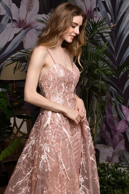 Ardolph | Gorgeous Dusty Pink Spaghetti Strap A-line Lace Prom Dress_7