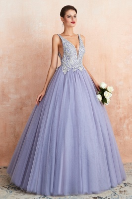 Cerelia | Elegant Princess V-neck Ball gown Lavender Prom Dress with Appliques, Deep V-neck Evening Gowns with Pleats_5