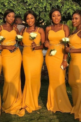 Sheath Sweetheart Neckline Spaghetti Yellow Lace Appliqued Bridesmaid Dresses | Affordable Long Court Train Wedding Party Dresses_1