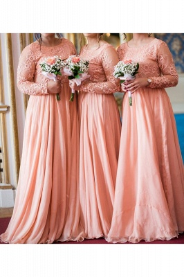 Long Sleeves Lace Appliqued Floor Length Bridesmaid Dresses | Affordable Coral Long Wedding Party Dresses_3