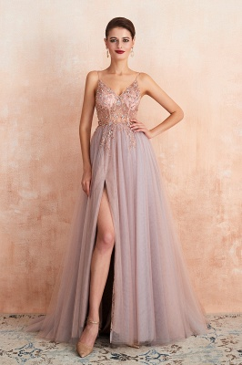 Charlotte | New Arrival Dusty Blue, Pink Spaghetti Strap Prom Dress with Sexy High Split, Cheap Evening Gowns Online_10
