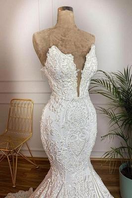 الحبيب يسد الخامس الرقبة حورية البحر أثواب الزفاف الأبيض في نموذج حقيقي مع قطار الدانتيل_3