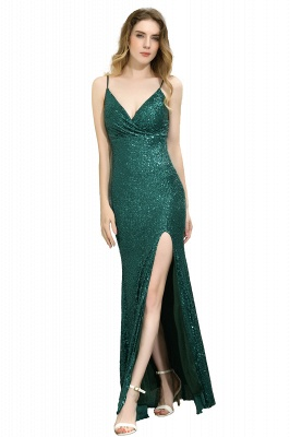 Ardell | Sexy Black Emerald Sequined High Slit Prom Dress Online_2