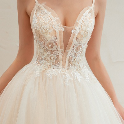 Boho Spaghetti Straps Ivory Ball Gown Wedding Dress | Romantic Bridal Gowns for Sale_6