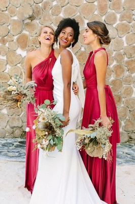 Irregular Shoulder Strap Changeable Style Bridesmaid Dresses | Long Backless Wedding Party Dresses With Sweep Train_4