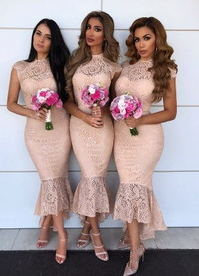 Elegant Mermaid Lace Dress With Cap Sleeves At Ankle Length | Sheath Prom Dresses Zipper Up_1