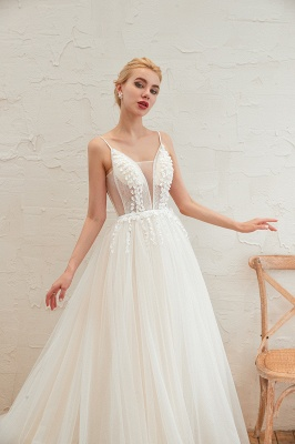 Summer Spaghetti Straps Plunging V-neck Champange Wedding Dress | Sexy Low Back Bridal Gowns Online_19