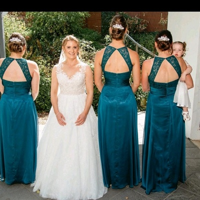 Summer Jewel Open Back Lace Sleeveless Bridesmaid Dresses | Sexy Backless Affordable Floor Length Lace Maid Of Honor Dresses_2