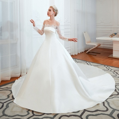 Romántico de encaje de manga larga princesa vestido de novia de satén | Vestidos de novia princesa con tren catedral_13