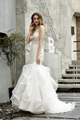Sexy See-through Lace Mermaid Lace Sleeveless Ivory Wedding Dress with Ruffle Train_11