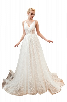 Harlan | Chic Deep V-neck White Tulle Princess Open back Wedding Dress with Court Train_20