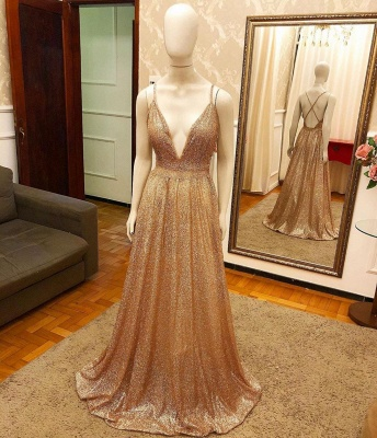 Trendy New Arrival Pluging V-neck Golden Sparkle Prom Dress with Criss-cross Back_2