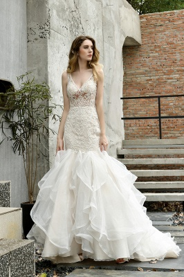 Sexy See-through Lace Mermaid Lace Sleeveless Ivory Wedding Dress with Ruffle Train_9