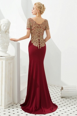 Hilary | Custom Made Short sleeves Burgundy Mermaid Prom Dress with Gold Lace Appliques_5