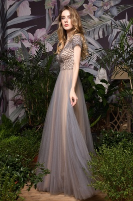 Aria | Stunning Short Sleeves Squared Sequined Tulle Luxury Prom Dress_12