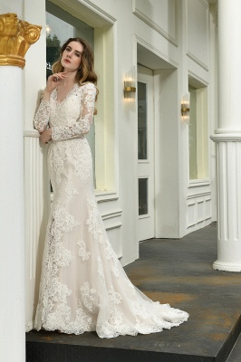 Delicate V-Neck High Split Long Sleeves Lace Wedding Dress With Court Train_9