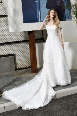 Elegant White Lace Off Shoulder Long Princess Wedding Dress with Beaded Lace Appliques_9