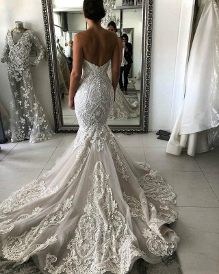 Expensive Sweetheart Mermaid Lace Appliques Low Back Long Wedding Dress with Chapel Train_3