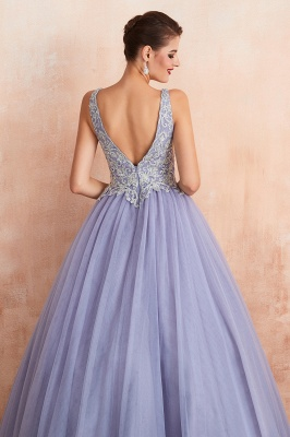 Cerelia | Elegant Princess V-neck Ball gown Lavender Prom Dress with Appliques, Deep V-neck Evening Gowns with Pleats_10