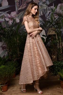 Ardolf | High neck Short Sleeve Champange Sequined High Low Prom Dress_5