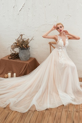 Illsuion neck Champange Wedding Dress with Chapel Train | Sleeveless Summer Bridal Gowns Online_9