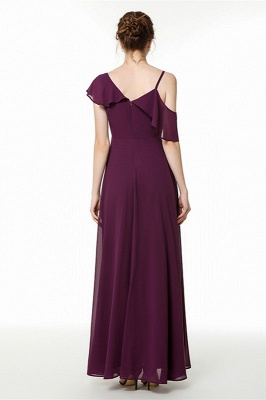 Emmi | Grape Off the shoulder Asymmetric Bridesmaid Dress with Flounce_3
