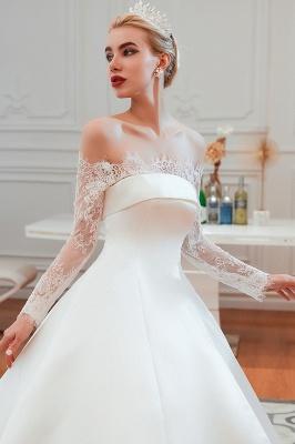 Romántico de encaje de manga larga princesa vestido de novia de satén | Vestidos de novia princesa con tren catedral_9
